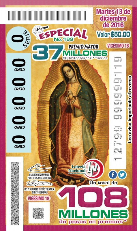 La imagen de la Virgen de Guadalupe en los billetes del #SorteoEspecial No.189 Martes 13 de noviembre de 2016