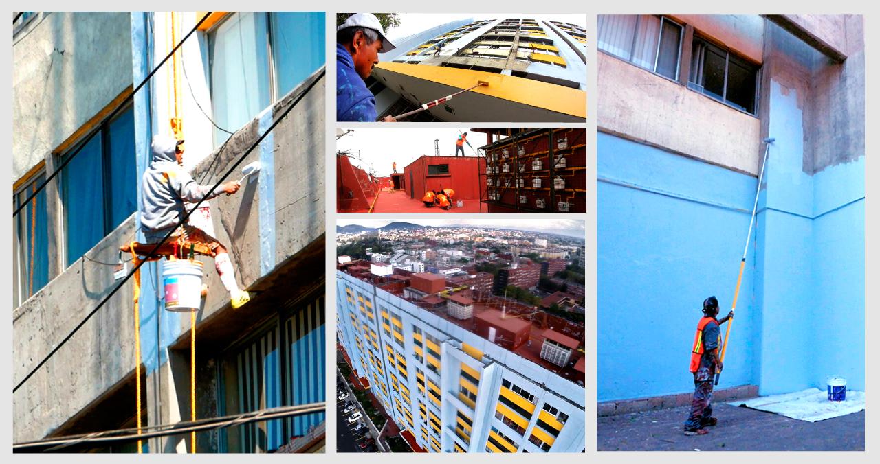 Remodelación de la unidad habitacional de Nonoalco-Tlatelolco. Trabajadores realizan la impermeabilización de techos y pintan fachadas de edificios de este conjunto habitacional.