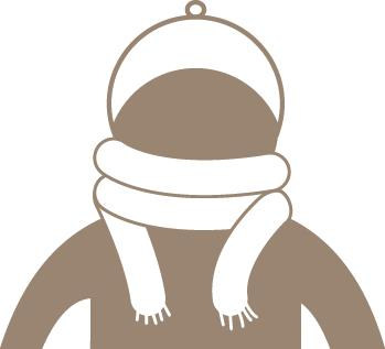 Gráfico de una persona con gorro y bufanda.