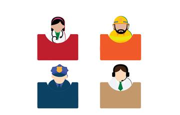 Imagen gráfica de una médica, un bombero, un policia, una persona de atención telefónica