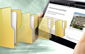 Se aprecia una tablet que comparte archivos.
