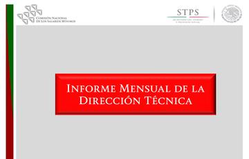 Portada de Informe Mensual de la Dirección Técnica 2017