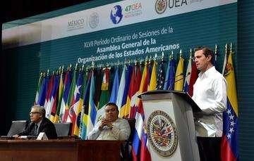 """""""Hoy la OEA exige de todos sus integrantes un renovado compromiso con los principios y valores que motivaron su creación. El diálogo y la concertación son la ruta para cimentar un futuro de bienestar y de prosperidad compartidos"""": EPN"""