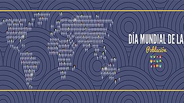 Mapa mundial con íconos de personas y texto 11 de Julio Día Mundial de la Población