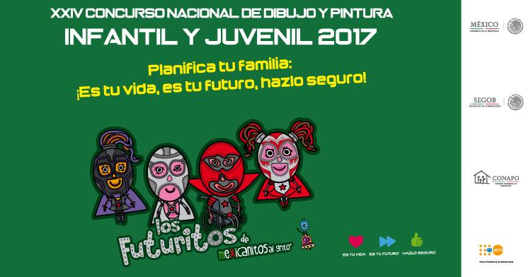 Arte del cartel del Concurso Nacional de Dibujo y Pintura Infantil y Juvenil 2017. 4 personajes enmascarados, dos mujeres 2 hombres, uno de ellos en silla de ruedas sobre un fondo verde