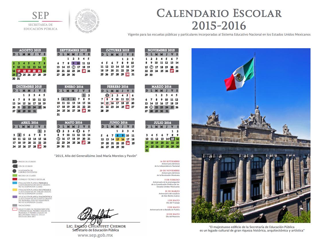 Calendario Escolar 2015 - 2016 | Secretaría de Educación Pública ...