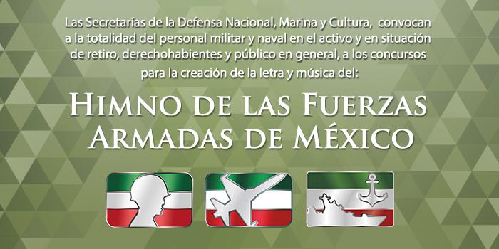 """Texto de la convocatoria para el """"Himno de las Fuerzas Armadas de México""""."""