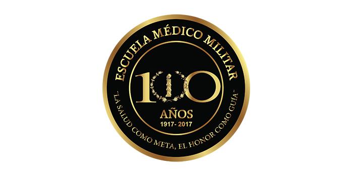 Rodela conmemorativa a los 100 años de la Escuela Médico Militar.