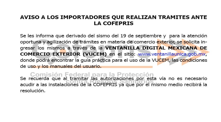 Aviso a los importadores que realizan tramites ante la COFEPRIS