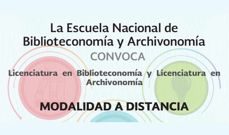 Imagen ilustrativa de la convocatoria de la Escuela Nacional de Biblioteconomía y Archivonomía, ENBA
