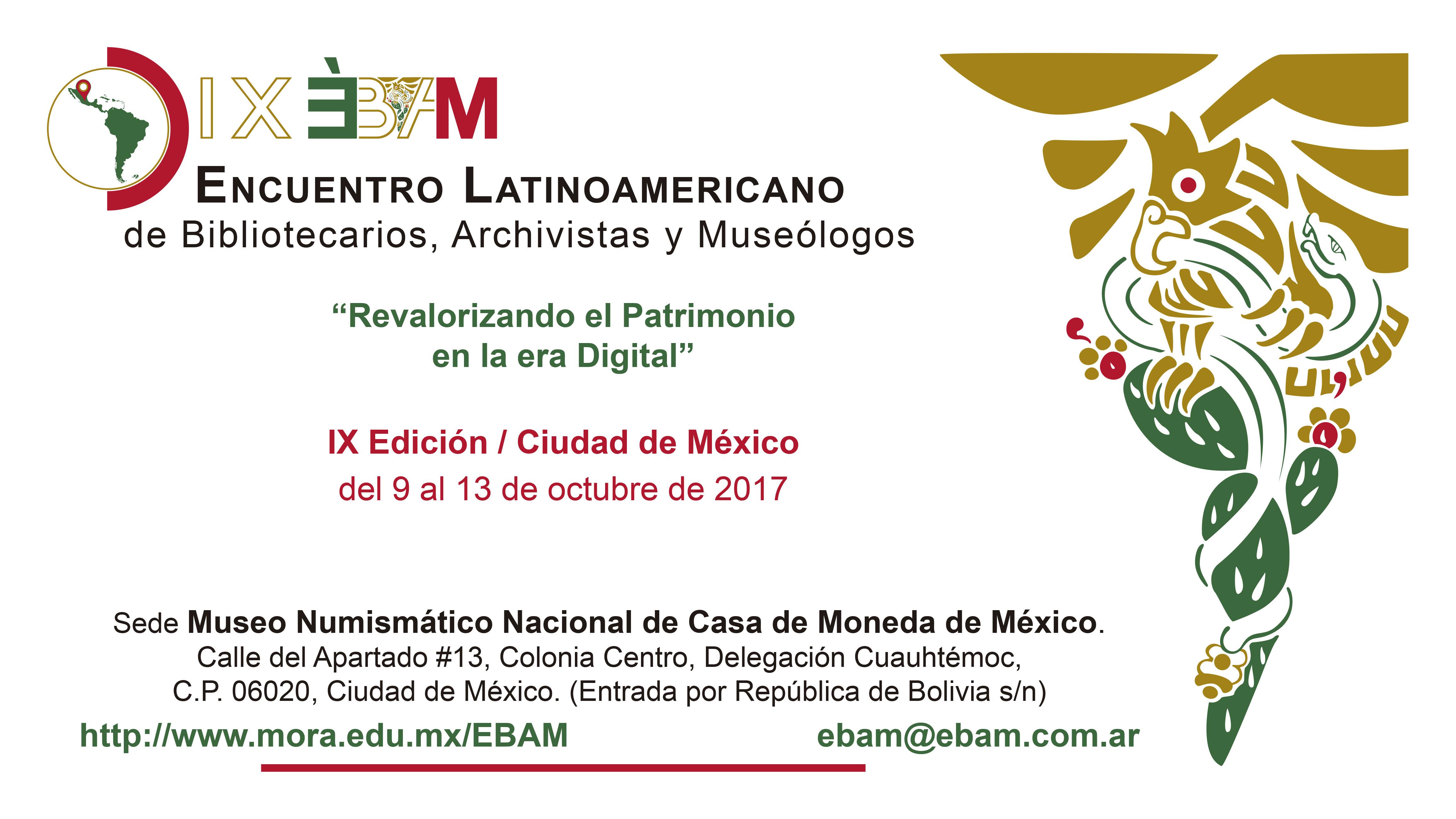 Cartel del IX Encuentro Latinoamericano de Bibliotecarios, Archivistas y Museológos