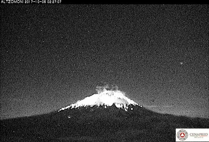 El sistema de monitoreo registró 11 exhalaciones, 2 vulcanotectonicos, 30 min de tremor y tres explosiones; la principal ocurrida hoy a las 02:26 h.