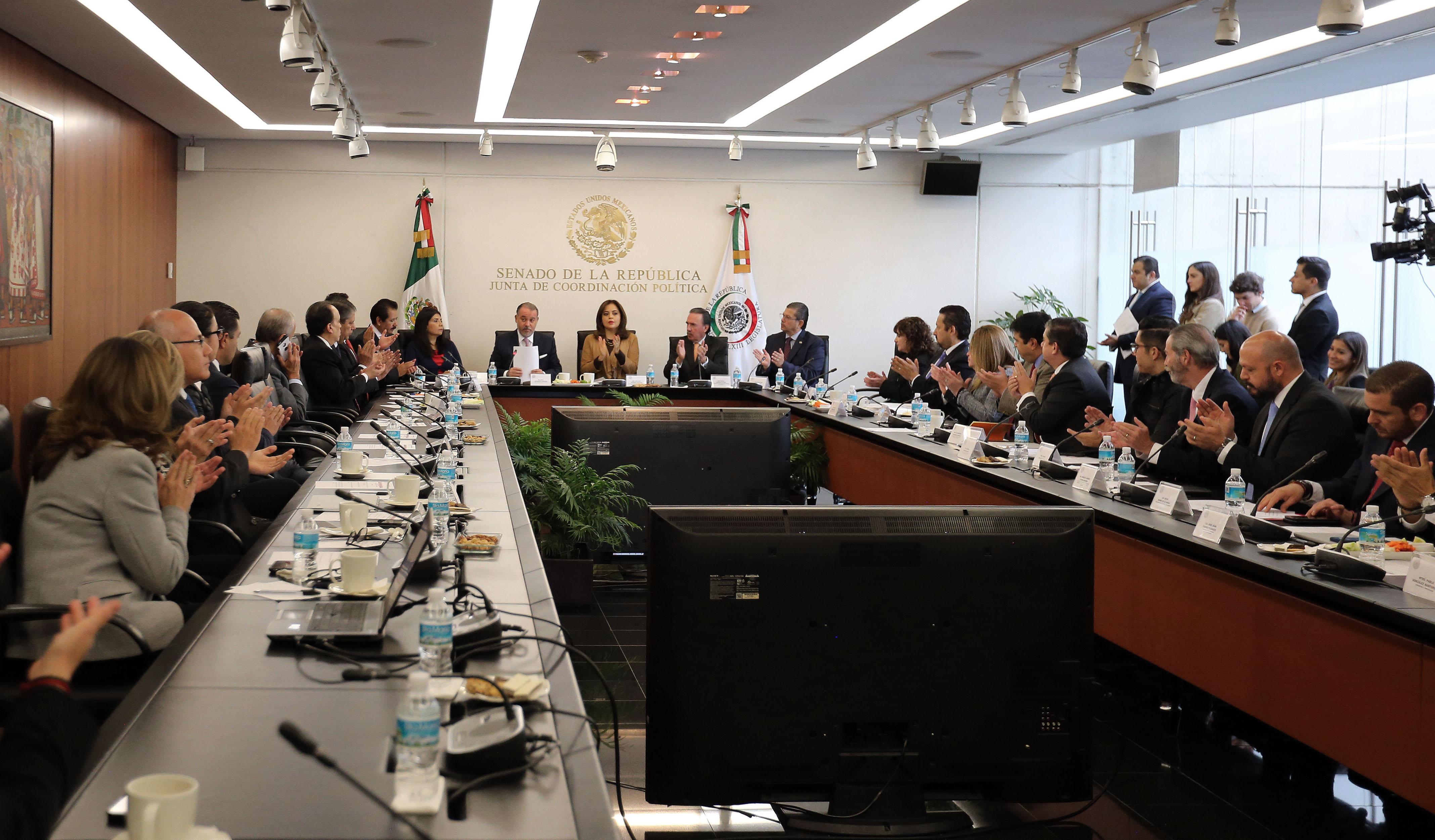 Sesión de la Junta de Coordinación Política del Senado de la República