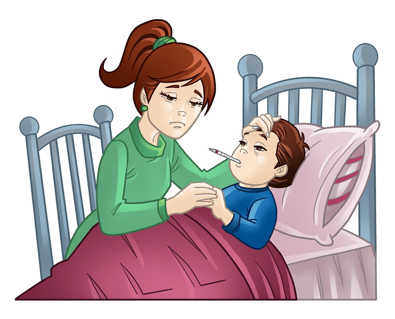 Madre cuidando a su hijo enfermo, postrado en una cama.