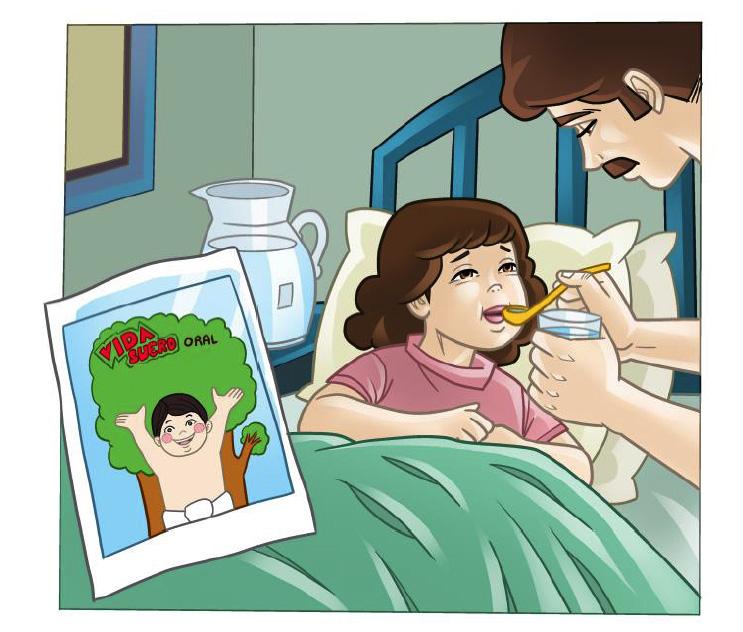 Ilustración de niña enferma en cama y padre dándole de beber con una cuchara vida suero oral.