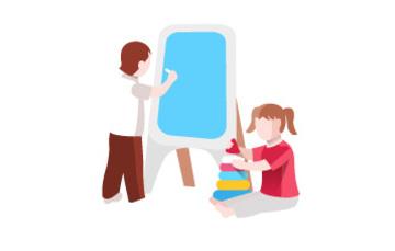 Niña y niño en escuela.