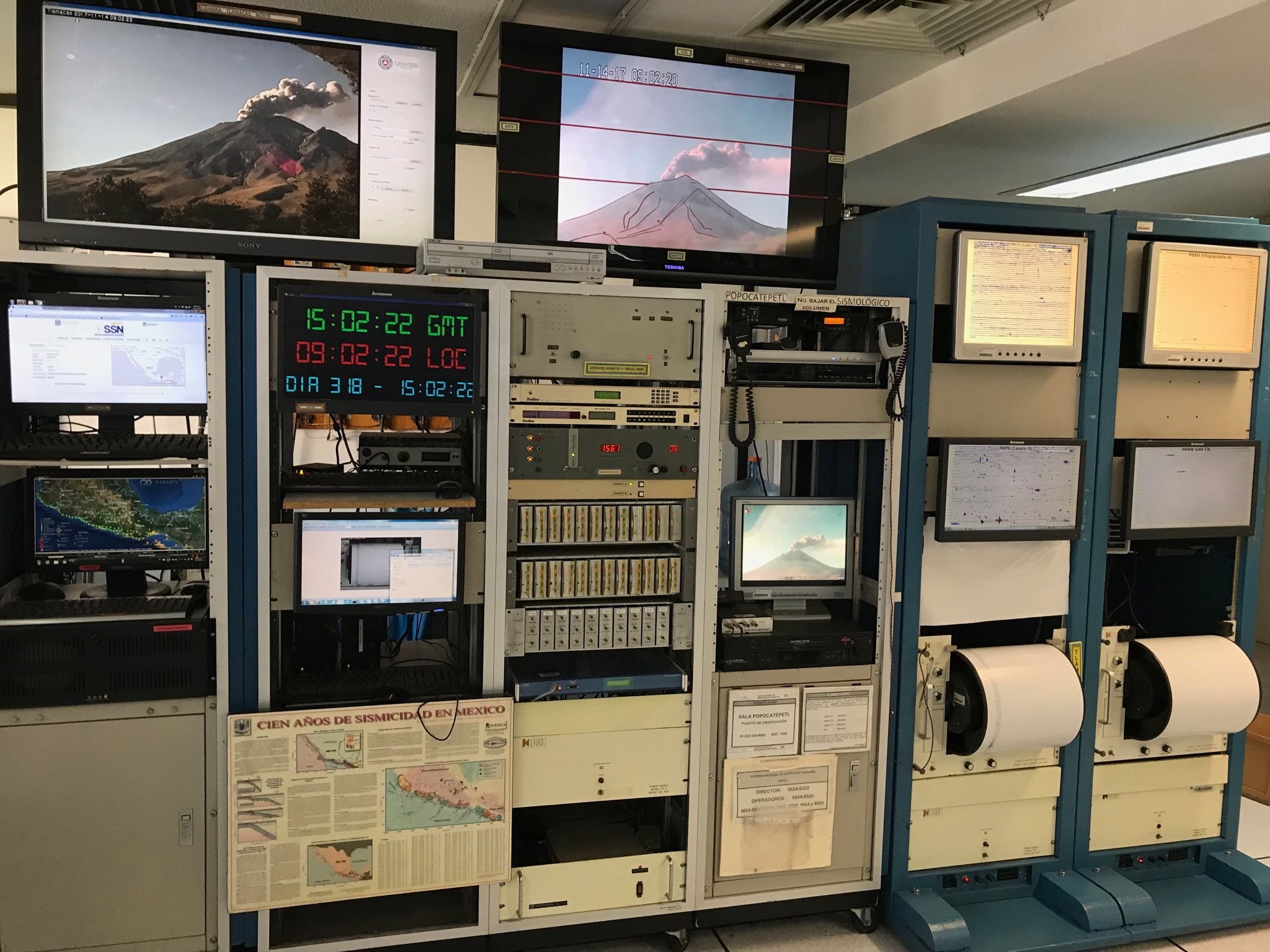 Foto de laboratorio de monitoreo del volcán popocatepetl