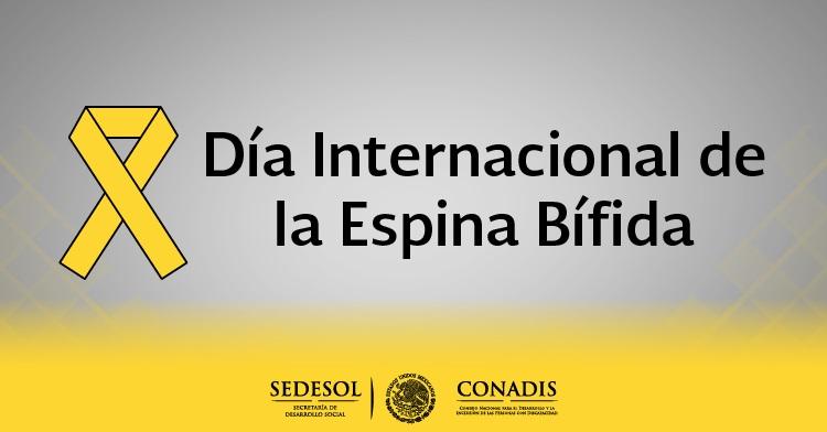 Banner del Día Internacional de la Espina Bífida, con moño amarillo