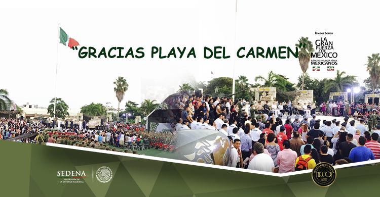 Imágenes de la Exposición Militar en Playa del Carmen.