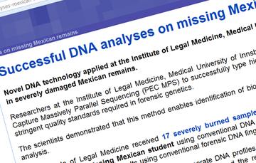 Comunicado del Instituto de Medicina Forense de la Universidad de Innsbruck sobre análisis de ADN