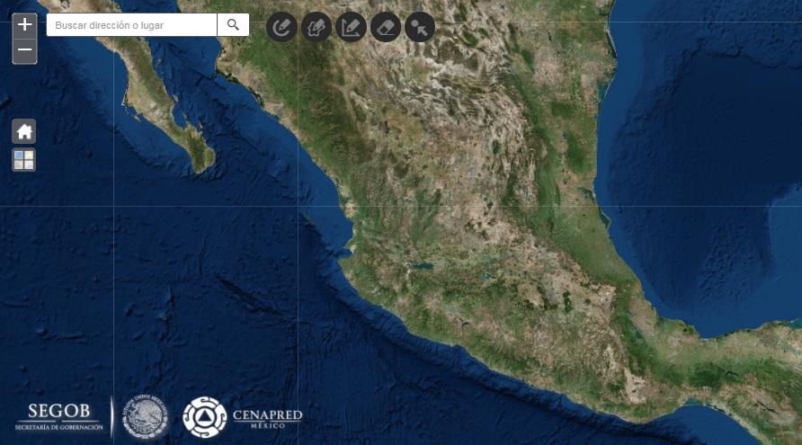 Captura de pantalla del Atlas Nacional de Riesgos