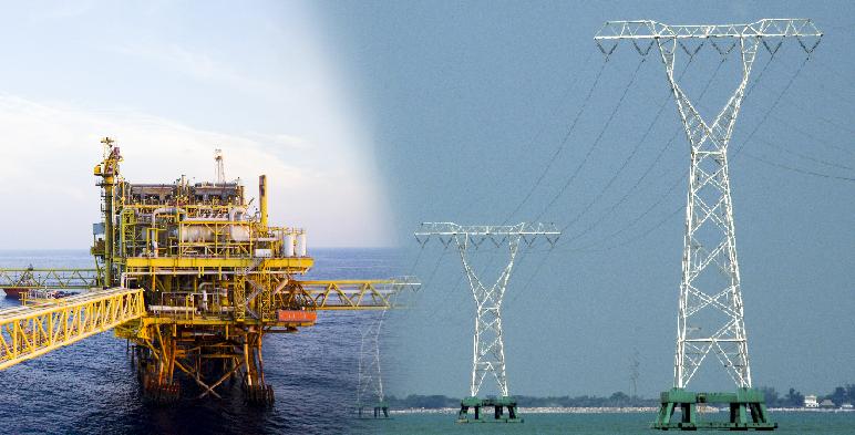 Fotografía de plataforma petrolera y línea de transmisión.