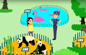 Policía Federal y una niña en un parque