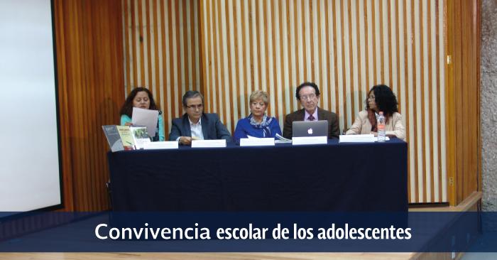 M. de Lourdes García, Iván Escalante, M. Guadalupe Velázquez, Felipe Lara-Rosano y M. del Carmen Saldaña en el auditorio a de la UPN Ajusco.