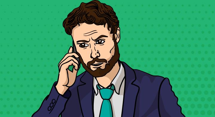 Ilustración de un hombre realizando una llamada telefónica.