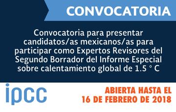 Convocatoria expertos para el IPCC, cierra 16 de febrero de 2018