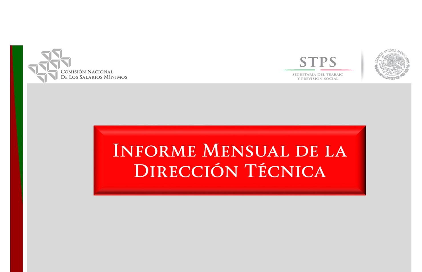 Portada de Informe Mensual de la Dirección Técnica 2018