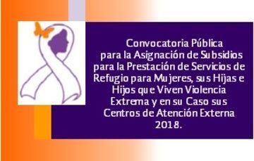 Convocatoria Pública para la Asignación de Subsidios para la Prestación de Servicios de Refugio para Mujeres en situación de violencia