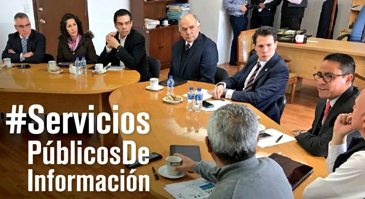 Reunión con el Titular de Secretaria de Desarrollo Urbano y Metropolitano (SEDUyM), Enrique Jacob Rocha, y el Director en Jefe del Registro Agrario Nacional (RAN), Froylán Hernández Lara quien presentó los Servicios Públicos de Información.