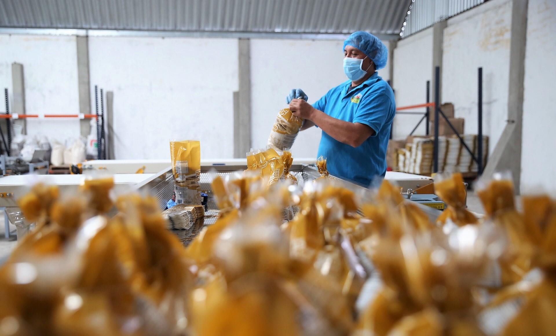 Empleado de la empresa social San Antonio Atotonilco empacando tostadas de maíz horneadas