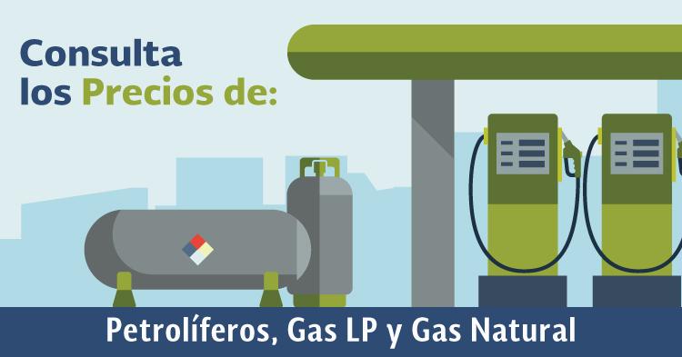 Consulta los precios de Petrolíferos, Gas LP y los Índices de Referencia de Precios de Gas Natural