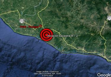 Foto de la ubicación del sismo del 16 de febrero