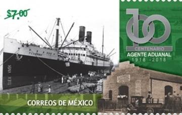 Cancelación de estampilla conmemorativa del centésimo aniversario de la Figura del Agente Aduanal.