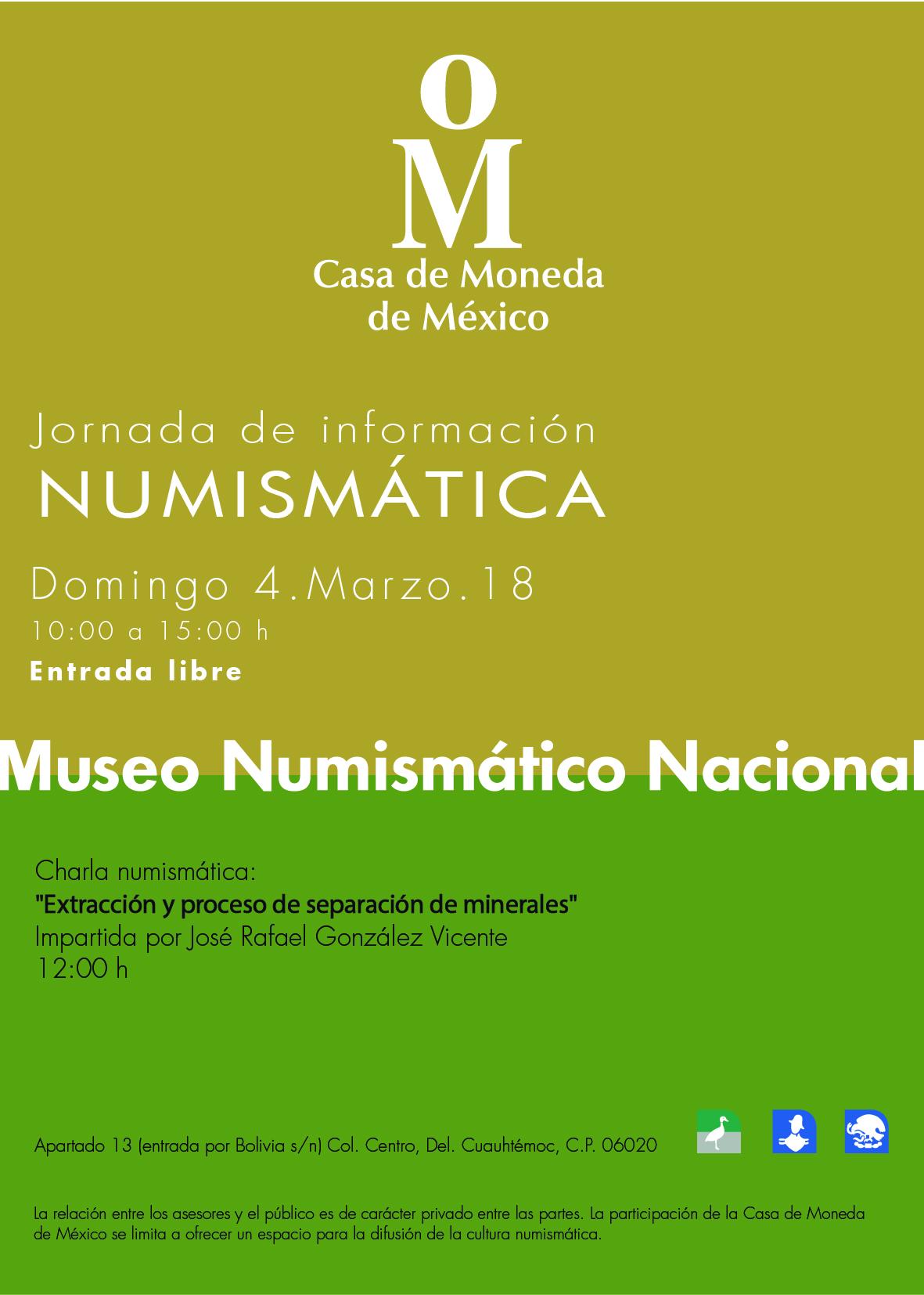 Cartel. Jornada de Información Numismática del mes de marzo