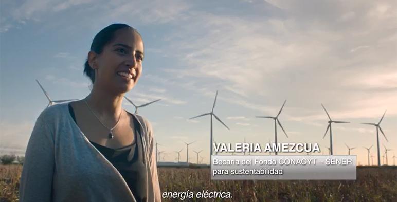 En recuadro imagen de Valeria Amezcua, Becaria del Fondo CONACYT - SENER para sustentabilidad