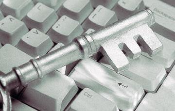Ilustración de una llave sobre un teclado de computadora