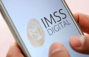 Ilustración de teléfono celular con logotipo de IMSS DIGITAL