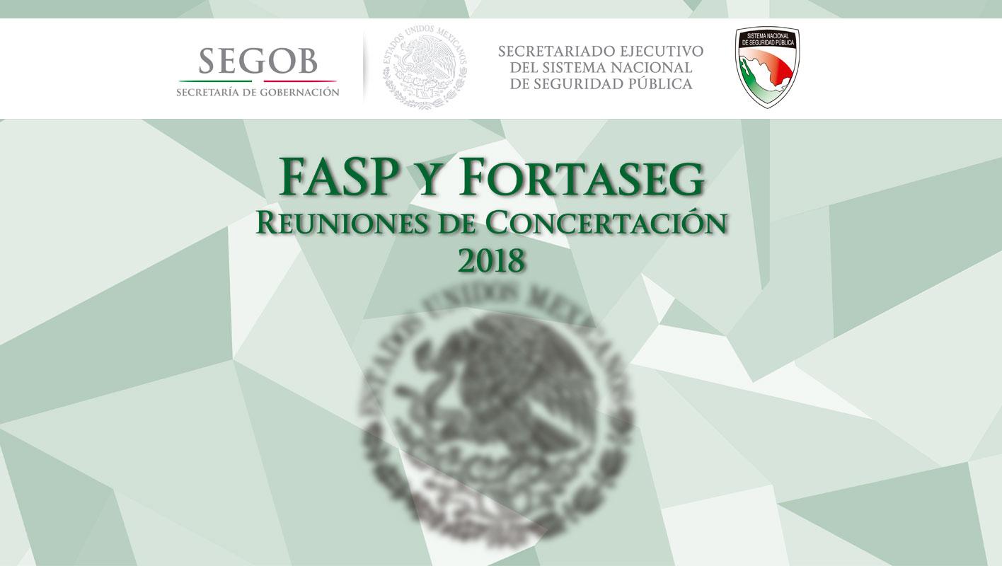 Es el banner de las reuniones de concertacion FASP y FORTASEG 2018, el cual contiene el escudo nacional al centro, el logotipo de SEGOB / Secretariado Ejecutivo del Sistema Nacional de Seguridad Pública y abajo dice: FASP y FORTASEG reuniones de concertac