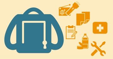 ícono de mochila de emergencia