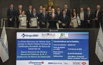 Banobras emitió, en agosto pasado, el primer Bono Sustentable por 10 mil millones de pesos y en su segunda emisión, en febrero de 2018, colocó con éxito un segundo Bono Sustentable (BANOB18X) por 2 mil 560 millones