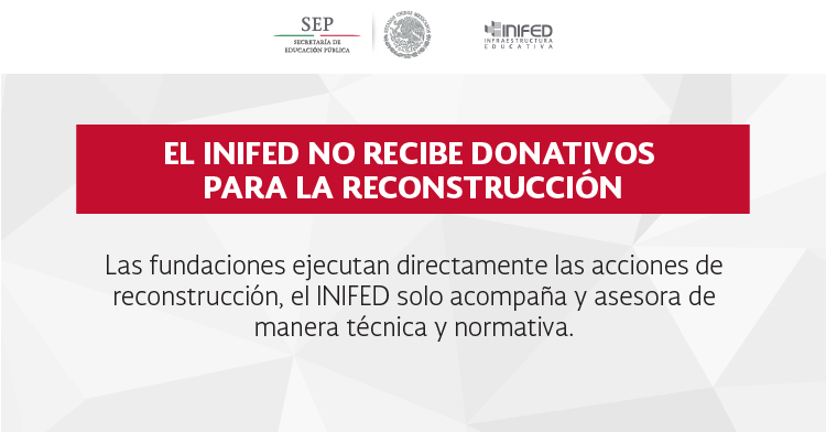 El INIFED no recibe donativos para reconstrucción
