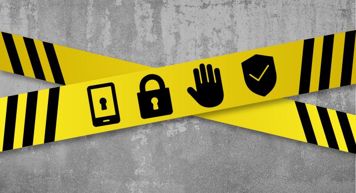 Ilustración de una cinta de advertencia.