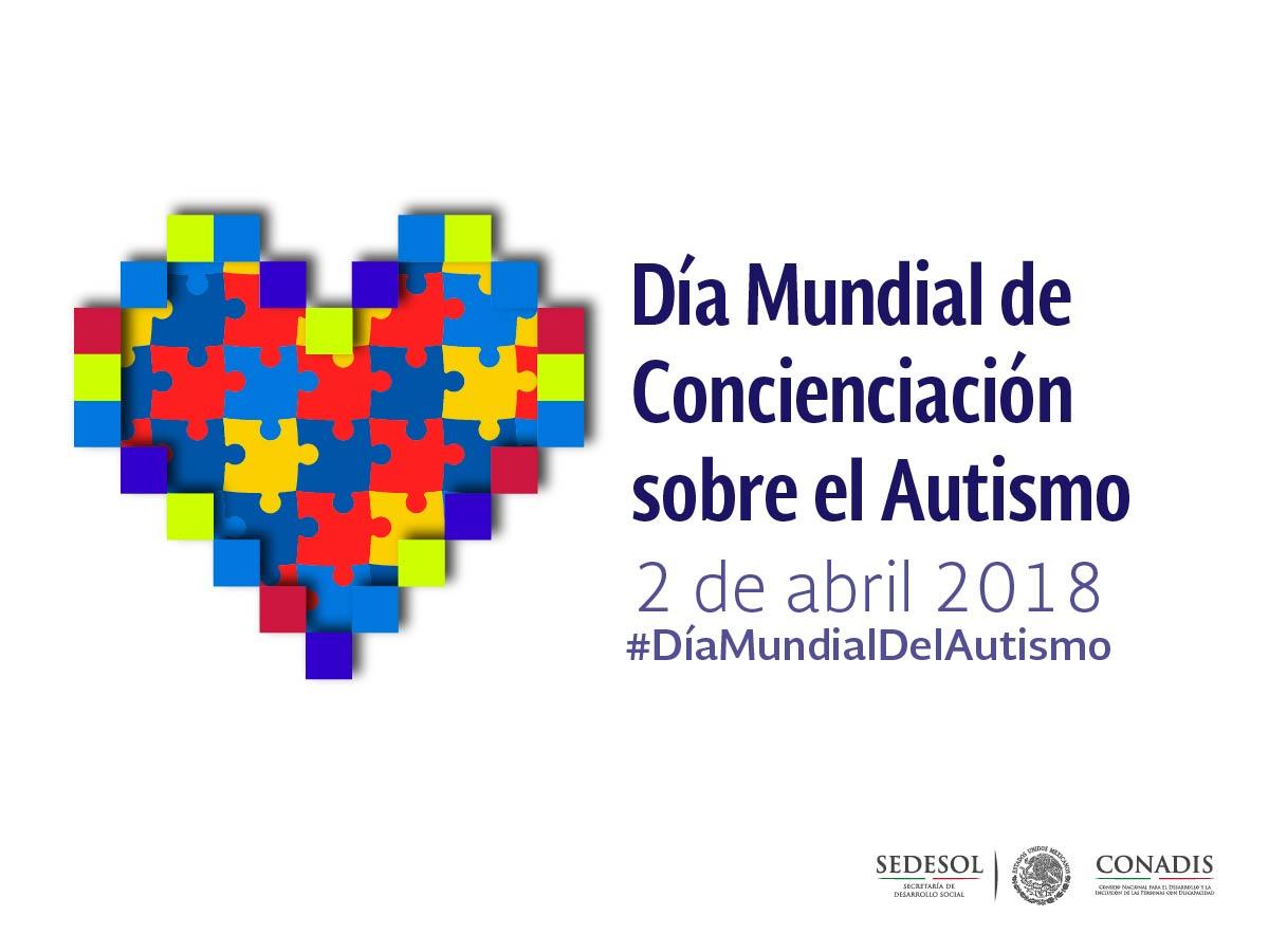 Es un corazón formado por piezas de rompecabezas de colores y a la derecha de éste un texto que dice: Día Mundial de Concienciación sobre el Autismo, 2 de abril de 2018. #DíaMundialDelAutismo