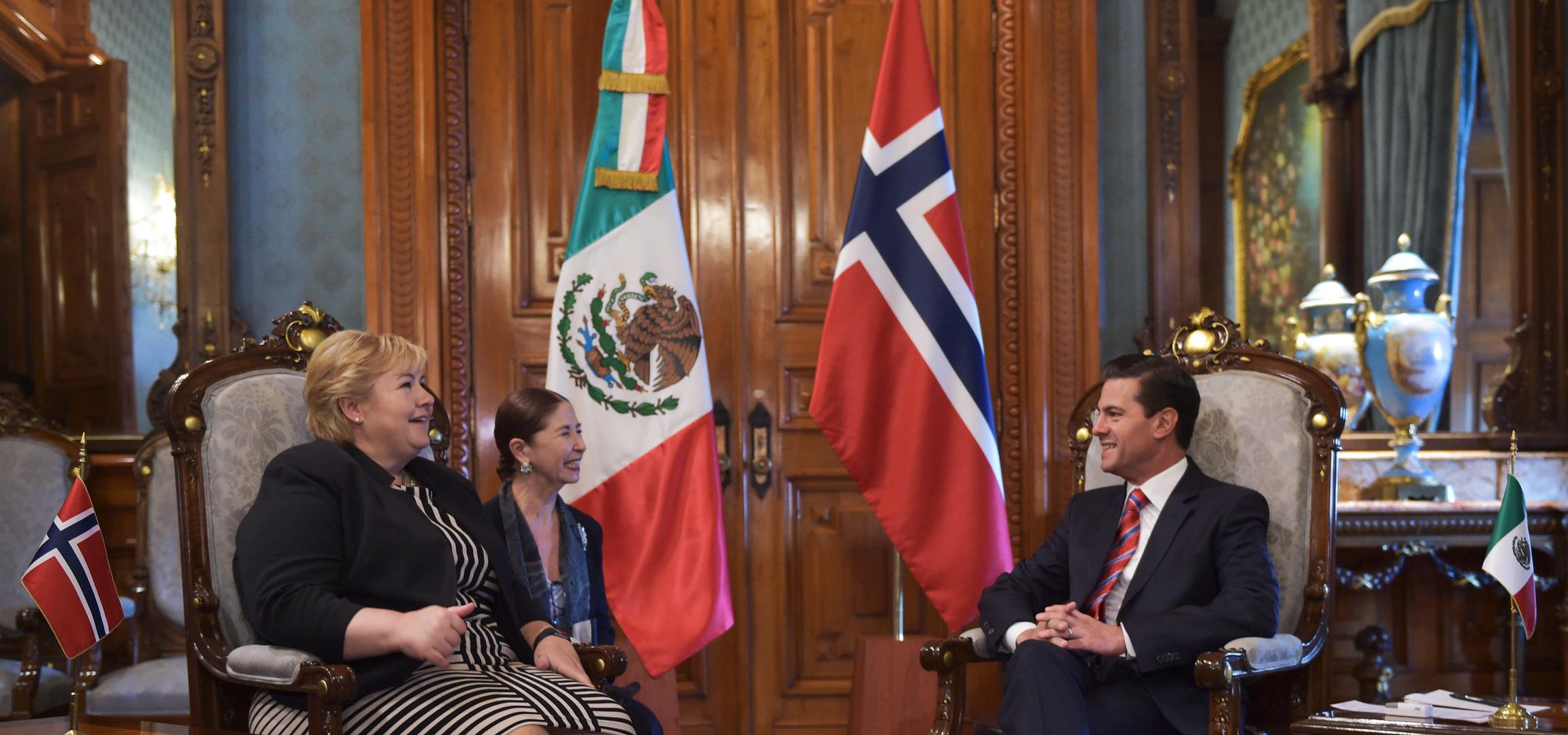 El Presidente Enrique Peña Nieto recibió este día a la Primera Ministra del Reino de Noruega, Erna Solberg, quien realiza una Visita Oficial.