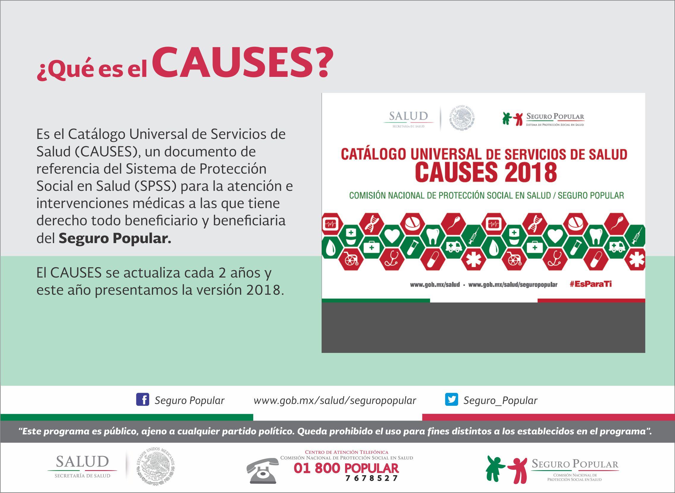 Catálogo Universal de Servicios de Salud (CAUSES) 2018.
