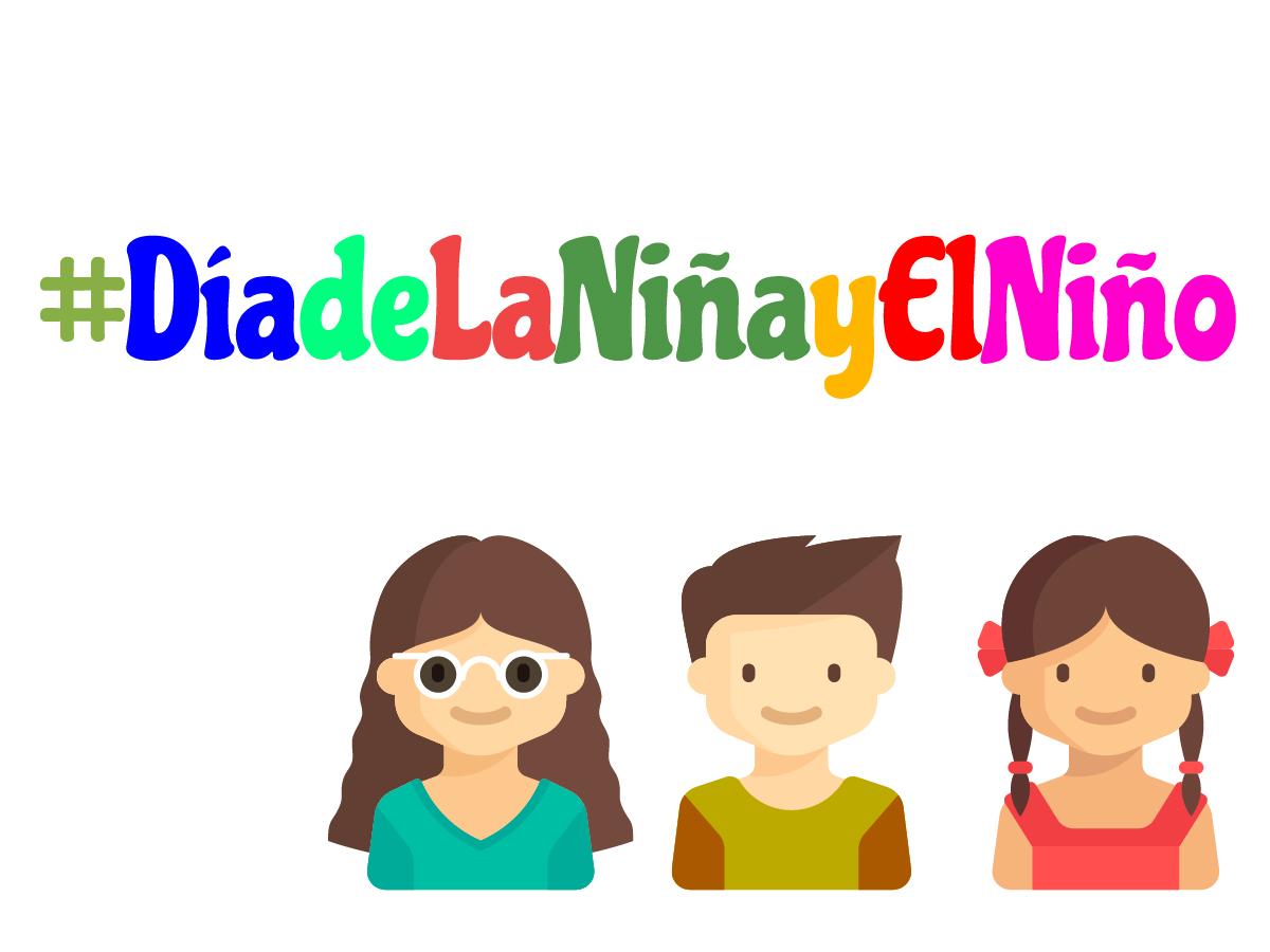Es una imagen con letras de colores antecedidas por el signo # y dice Día de la niña y el niño, debajo son los dibujos de dos niñas y en medio de ellas un niño, una de las niñas lleva lentes oscuros.